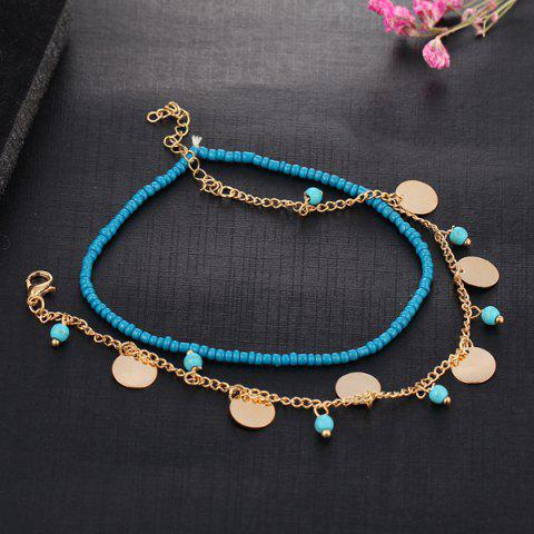 Chic Faux Turquoise Beaded Disc Charm Anklet Set
