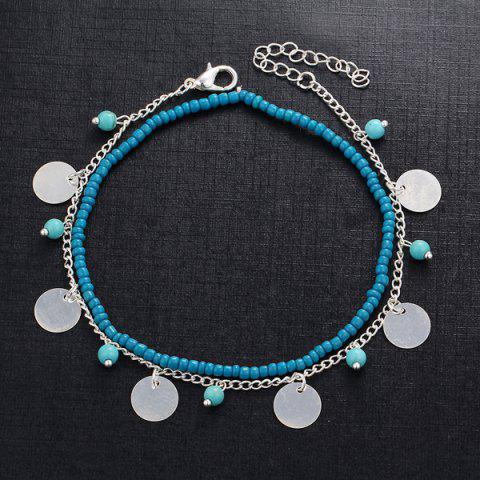 Shop Faux Turquoise Beaded Disc Charm Anklet Set - SILVER  Mobile