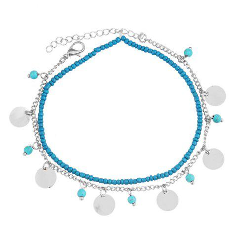 Fashion Faux Turquoise Beaded Disc Charm Anklet Set - SILVER  Mobile