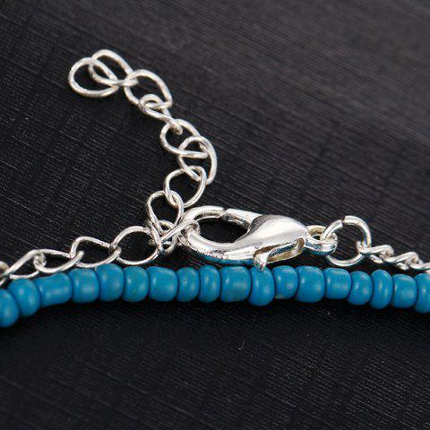 Outfit Faux Turquoise Beaded Disc Charm Anklet Set - SILVER  Mobile