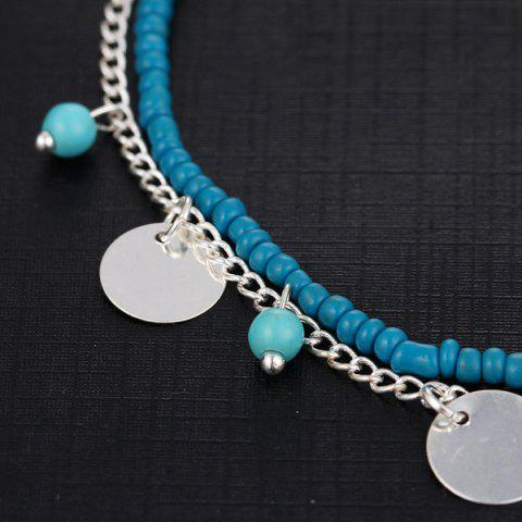 Shops Faux Turquoise Beaded Disc Charm Anklet Set - SILVER  Mobile