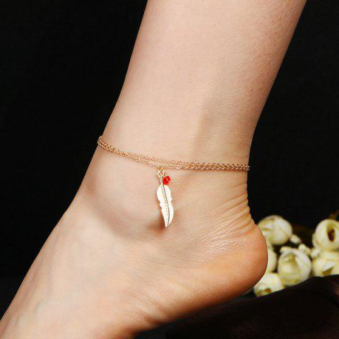Shop Bead Alloy Feather Layered Charm Anklet