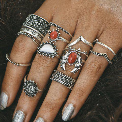 Store Vintage Engraved Sun Moon Finger Ring Set