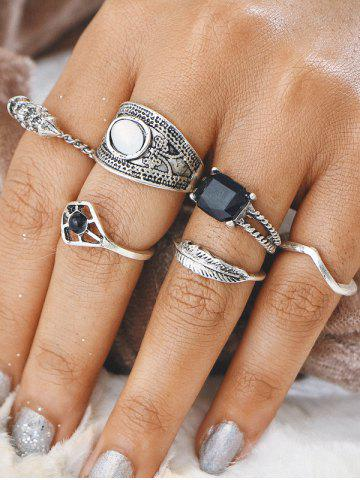 Unique Gypsy Alloy Feather Geometric Finger Ring Set - SILVER  Mobile