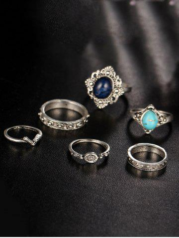 New Bohemian Faux Turquoise Oval Finger Ring Set - SILVER  Mobile