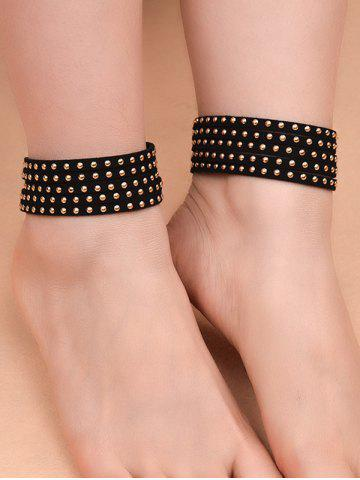 Trendy 1PC Wide Rivet Multilayered Anklet GOLDEN