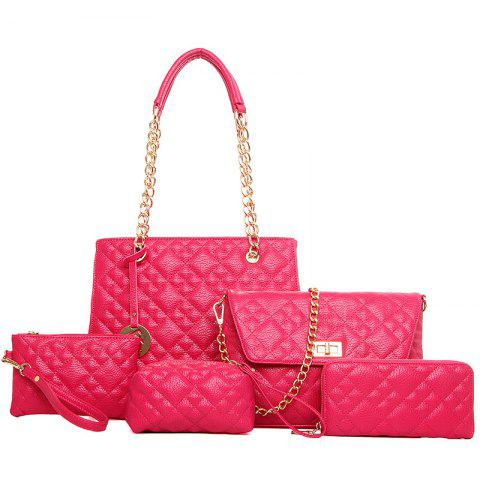 Trendy Chain Quilted 5 Pieces Handbag Set - ROSE RED  Mobile