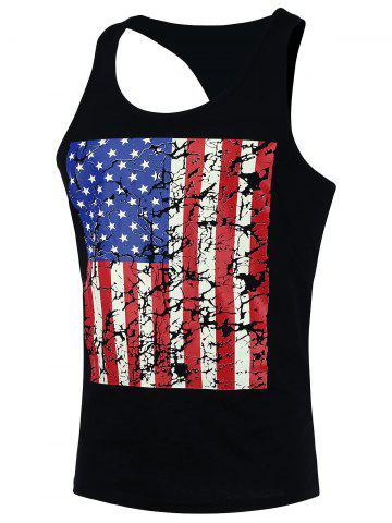 Store 4th of July Muscle American Flag Tank Top - XL BLACK Mobile