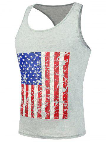Shops 4th of July Muscle American Flag Tank Top - L LIGHT GRAY Mobile