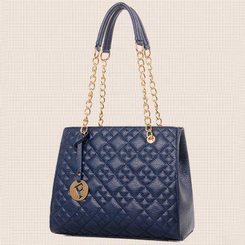 Hot Chain Quilted 5 Pieces Handbag Set - BLUE  Mobile