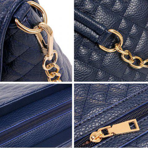 Fancy Chain Quilted 5 Pieces Handbag Set - BLUE  Mobile