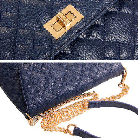 Affordable Chain Quilted 5 Pieces Handbag Set - BLUE  Mobile