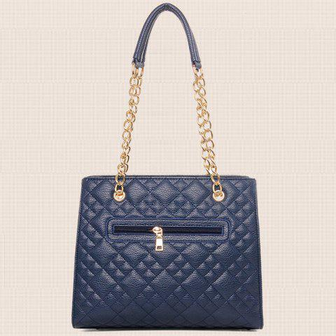 Latest Chain Quilted 5 Pieces Handbag Set - BLUE  Mobile