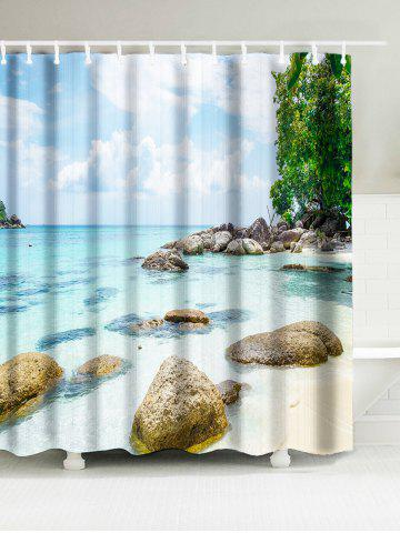 Waterproof Fabric Shower Curtain with Sea Beach Print - Multicolor - W71 Inch * L79 Inch