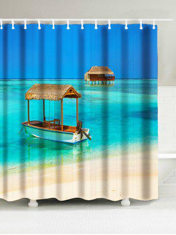 Sea Boat House Print Bathroom Waterproof Shower Curtain - Blue - W71 Inch * L79 Inch