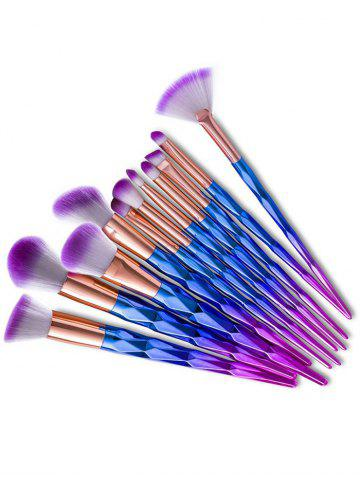 Best 12Pcs Taper Angular Fancy Gradient Color Makeup Brushes Set - BLUE VIOLET  Mobile