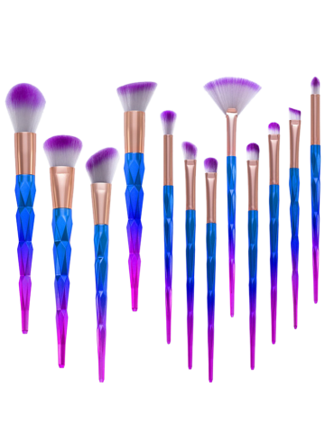 Discount 12Pcs Taper Angular Fancy Gradient Color Makeup Brushes Set - BLUE VIOLET  Mobile