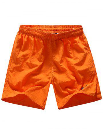 Embroidered Drawstring Straight Leg Board Shorts - Orange - L