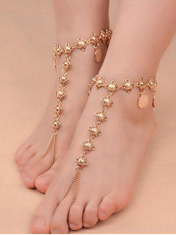Hot 1PC Vintage Coins Fringed Slave Charm Anklet - GOLDEN  Mobile