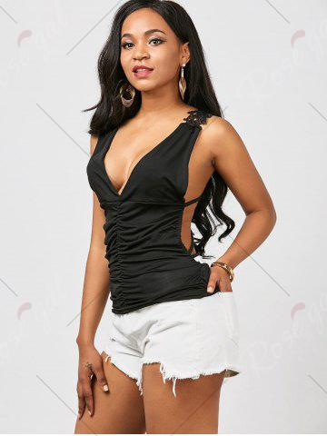 Outfits Ruched Back Lace Tank Top - ONE SIZE BLACK Mobile