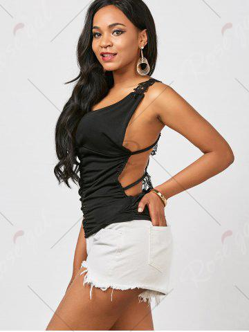 Fancy Ruched Back Lace Tank Top - ONE SIZE BLACK Mobile