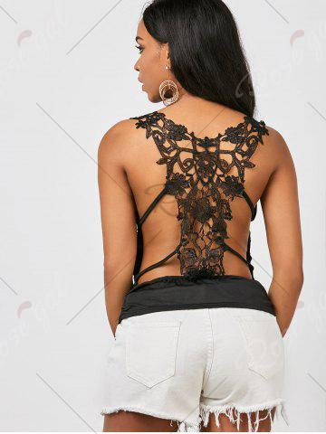 Trendy Ruched Back Lace Tank Top - ONE SIZE BLACK Mobile