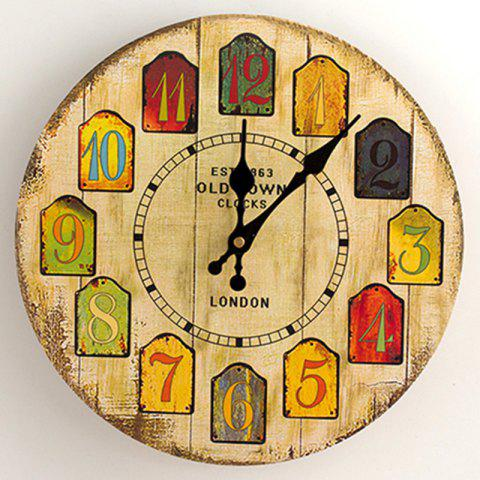 Fancy Cartoon Wood Analog Number Round Wall Clock - 50*50CM YELLOW Mobile