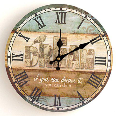 Dream Wood Analog Round Wall Clock Multicolore 50*50cm