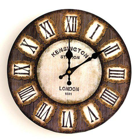 Chic Analog Round Wood Decorative Wall Clock - 50*50CM DEEP BROWN Mobile