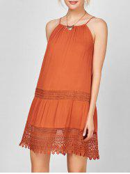 Lace Trim Bohemian Slip Dress - ORANGE RED