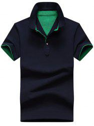 Short Sleeve Color Block Polo T-shirt