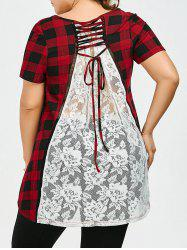 Plus Size Lace Insert Plaid Tee
