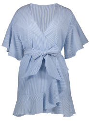 Plunging Neck Striped Wrap Dress - LIGHT BLUE