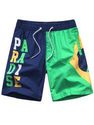 Letters Printed Color Splicing Board Shorts