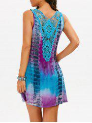 Lace Insert Tie-Dyed Sleeveless Tunic Dress