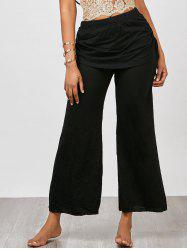 Skirted Wide Leg Pants - BLACK