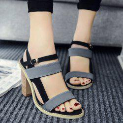Chunky Heel Color Block Elastic Sandals