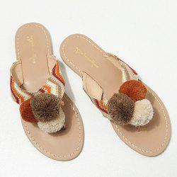 Color Block Pompon Slippers