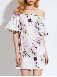 Off Shoulder Flared Sleeve Floral Shift Dress