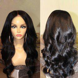 Long Center Parting Body Wave Synthetic Wig - BLACK
