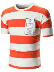 Crew Neck Stripe Graphic Tee