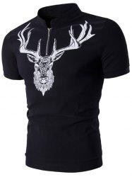 Stand Collar Half Zip Up Elk Print T-Shirt