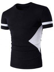Color Block Geometric Panel Short Sleeve T-Shirt - BLACK 2XL