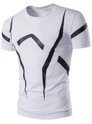 Short Sleeve Geometric Linellae Print T-Shirt - WHITE