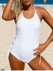 Halter Lace-Up One Piece Swimsuit - WHITE S