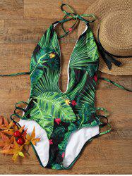 Tropical Print Low Cut Halter Strappy Swimsuit - COLORMIX