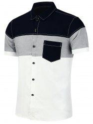 Color Block Patchwork Short Sleeve Shirt - Blanc