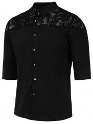 Button Up Lace Panel Half Sleeve Shirt