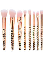 8Pcs Multifunction Honeycomb Handle Design Makeup Brushes Set
