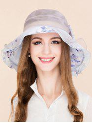 Floral Printed Bowknot Mulberry Silk Layered Hat